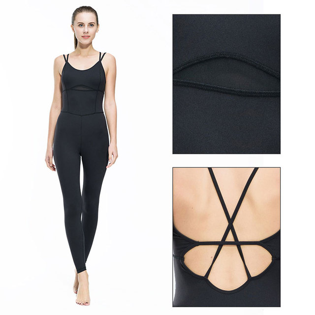 Yoga Jumpsuit Gym Running Sports Suit Lady Tight Clothing Breathable Quick Dry Sportswear Sets Patchwork Tracksuit 1
