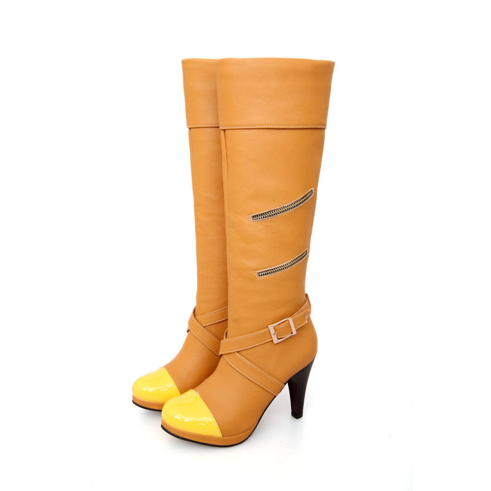 ARMOIRE Hot Fashion Sexy Black Yellow High Heels Women Knee High Boots Ladies Shoes A580-1 Buckle Big Size 4 12  33 47 brand new fashion black yellow women knee high cowboy motorcycle boots ladies shoes high heels a 16 zip plus big size 32 43 10
