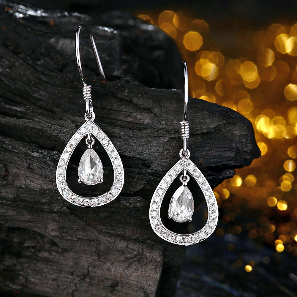 Caimao 0.54ct Pear Rose Cut Moissanite Dangle 14k white gold with accent moissanite Drop Earrings