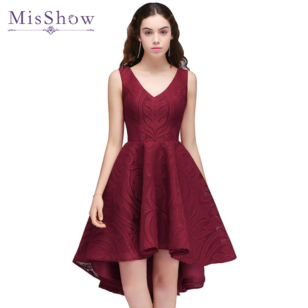 High Low Prom Dresses 2018 Elegant Cheap Burgundy Short