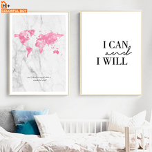 COLORFULBOY World Map Quotes Watercolor Wall Art Canvas Painting Nordic Posters And Prints Pictures For Living Room Decor