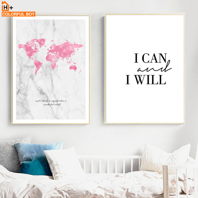 World Map Quotes Watercolor Wall Art Canvas Painting Nordic Posters Prints Pictures Living Room