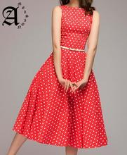 Ameision Vintage Women dress 2019 Summer New sleeveless O-neck vestidos elegant thin dot printing big swing casual Female