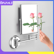 Bathroom Mirror Stainless Steel Dual Arm Extend 2-Face Cosmetic Mirror Wall Mounted Square Floding Make Up Mirror 3x Magnifying недорого
