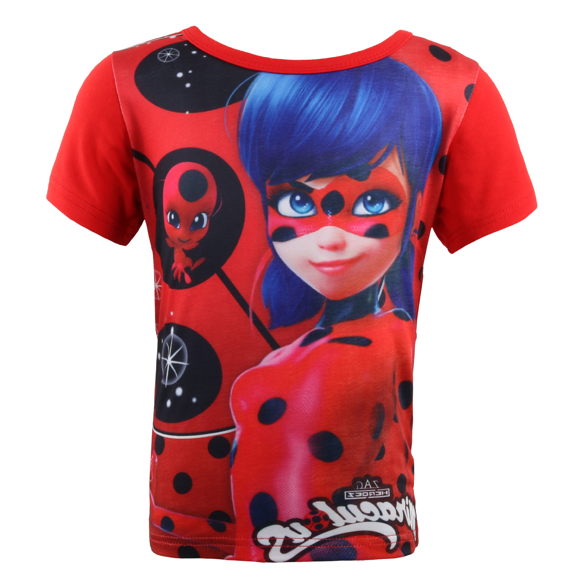 Baby girl 2018 summer T shirt Miraculous Ladybug print short-sleeved round neck T-shirt children Bug casual top Kids Clothes 3d tie dye print crew neck trippy t shirt