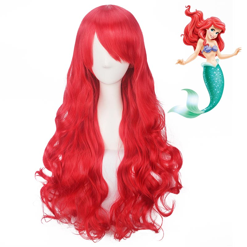 60-80cm Long Curly Synthetic The Little Mermaid Ariel Wig For Kids Red Cosplay Hair Wigs For Women