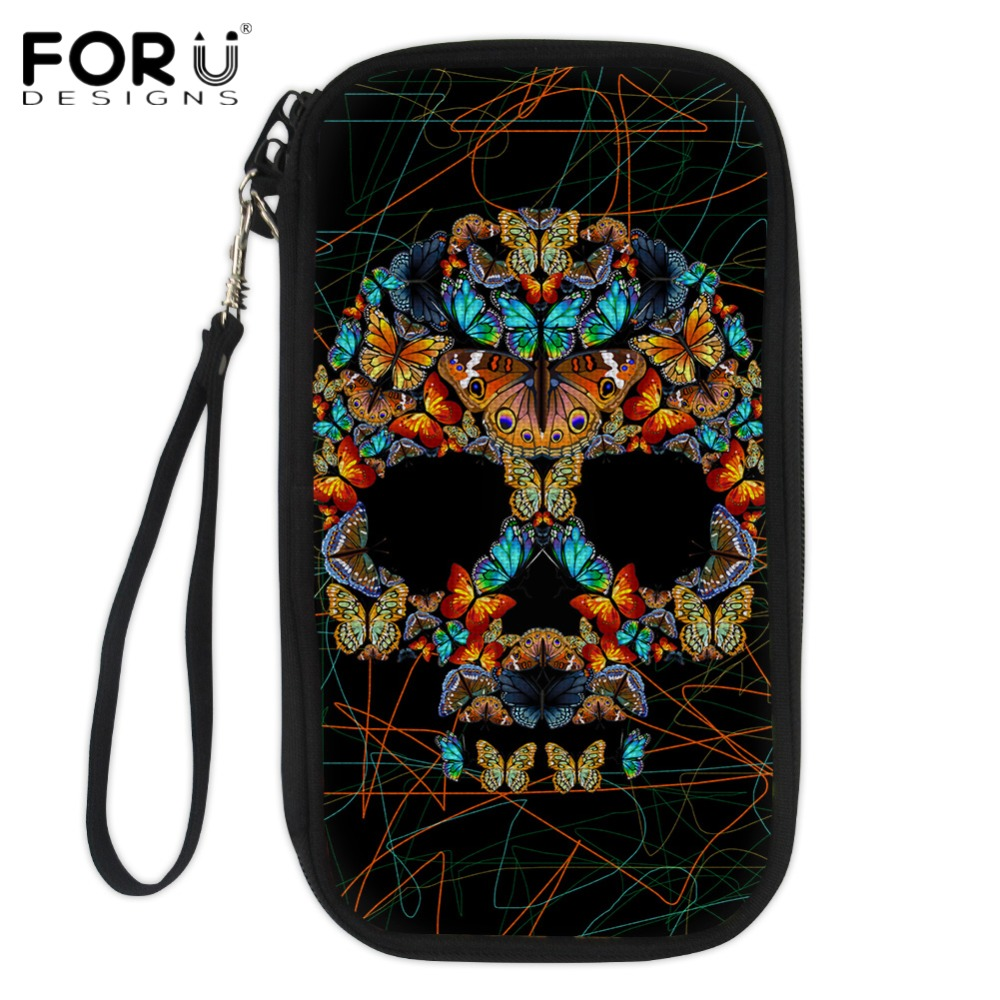 FORUDESIGNS Men Passport Wallet Vintage Skull Credit Cards Holders for Ladies Durable Pouch Bags Fashion Multi Pockets Card Pack