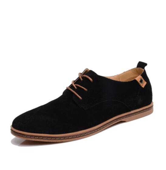 Men Shoes Summer Genuine Leather Flats Male Shoes Adult BN245-260 Casual Shoes Black Suede Dress Oxfords Lace Up Size 36-44