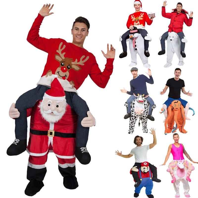 Offre spéciale adulte père noël monter sur des Costumes Animal fantaisie fête Cosplay pantalons Costumes de noël bonhomme de neige Halloween Costumes