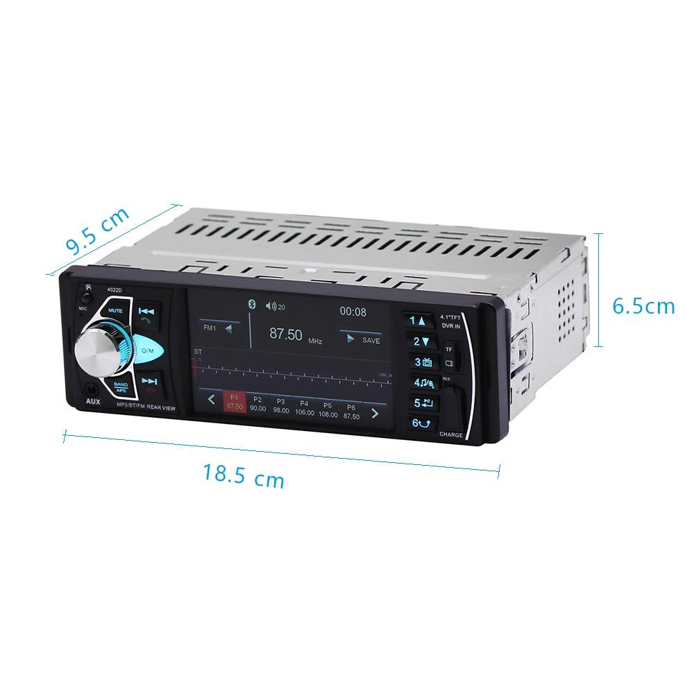 Podofo Radio samochodowe Autoradio 4.1 ''Radio samochodowe 1Din Audio Stereo FM USB SD Bluetooth kierownica zdalne sterowanie kamery pomocnicze