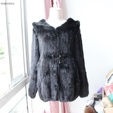 2017 new real knitted mink fur winter coat women hooded full sleeve thick slim jacket big size basic overcoat femme middle long