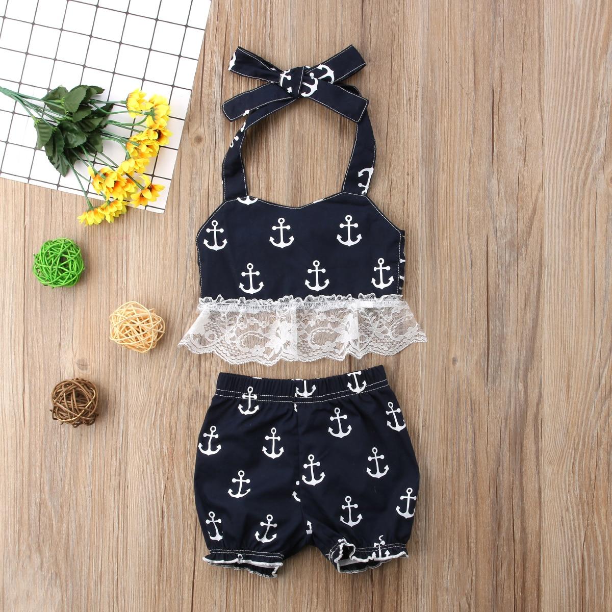 Betrouwbare Schattige Peuter Baby Meisjes Anker Kant Sling Top Vest Shorts Zomer Print Outfits Set Kleding Set Zwarte Kleding Set Yu