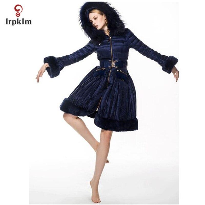 2017 nouvelle mode de luxe femmes hiver Long vers le bas vestes avec fourrure à capuche col Sellve femme chaud canard vers le bas manteau Slim taille PQ114