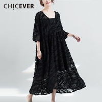 CHICEVER Spring Black Women Dress Female Three Quarter Sleeve Loose Big Size 2018 Casual Women S
