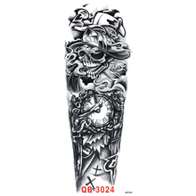 Scary Death Timer Dnagerous Skull Black Tattoo Stickers Waterproof Large Body Art Temporary Tattoo