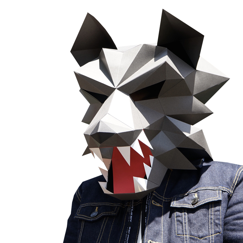 Straightforward Wolf Head Paper Diy Material Manual Creative Head Mask Party Masquerade Show Props Lovely Tide Hand Made Cute Animal Mask