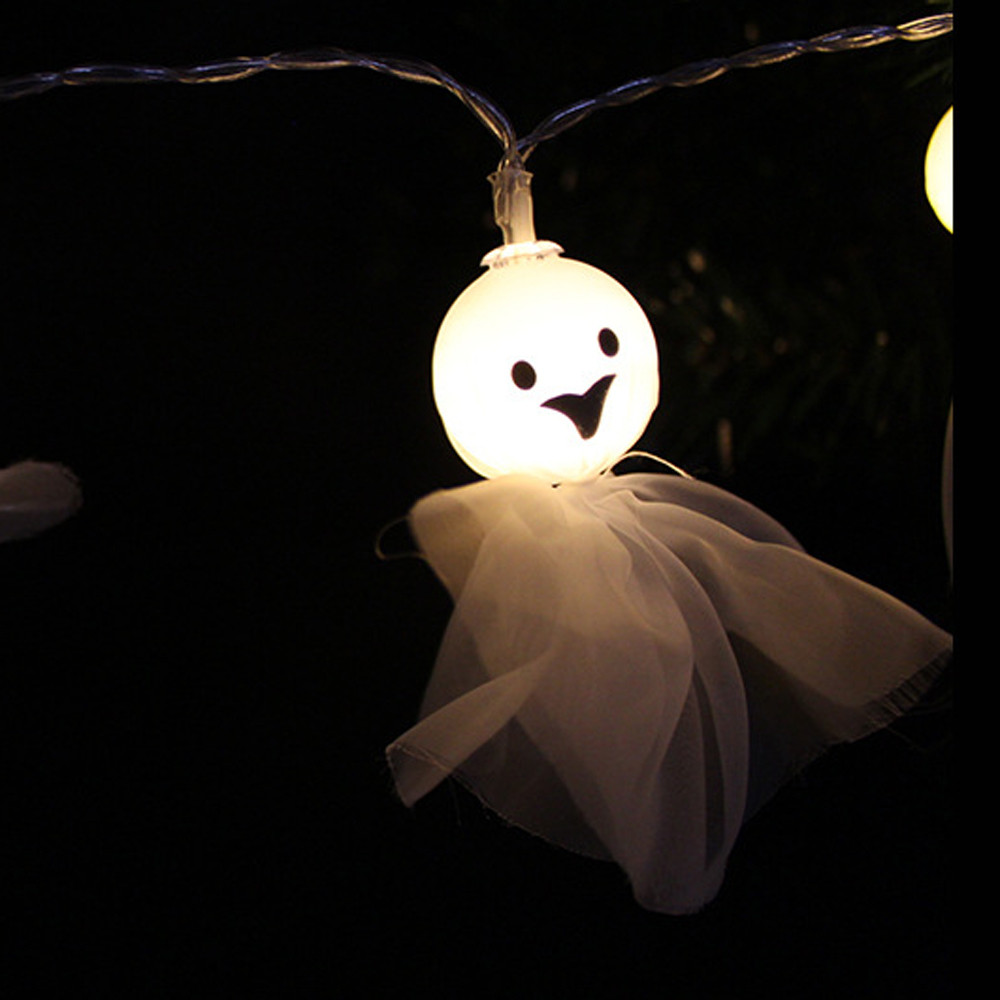 Dropshipping 1.5M 10LED Ghost String Lights For Halloween Party Decor Halloween String Lights