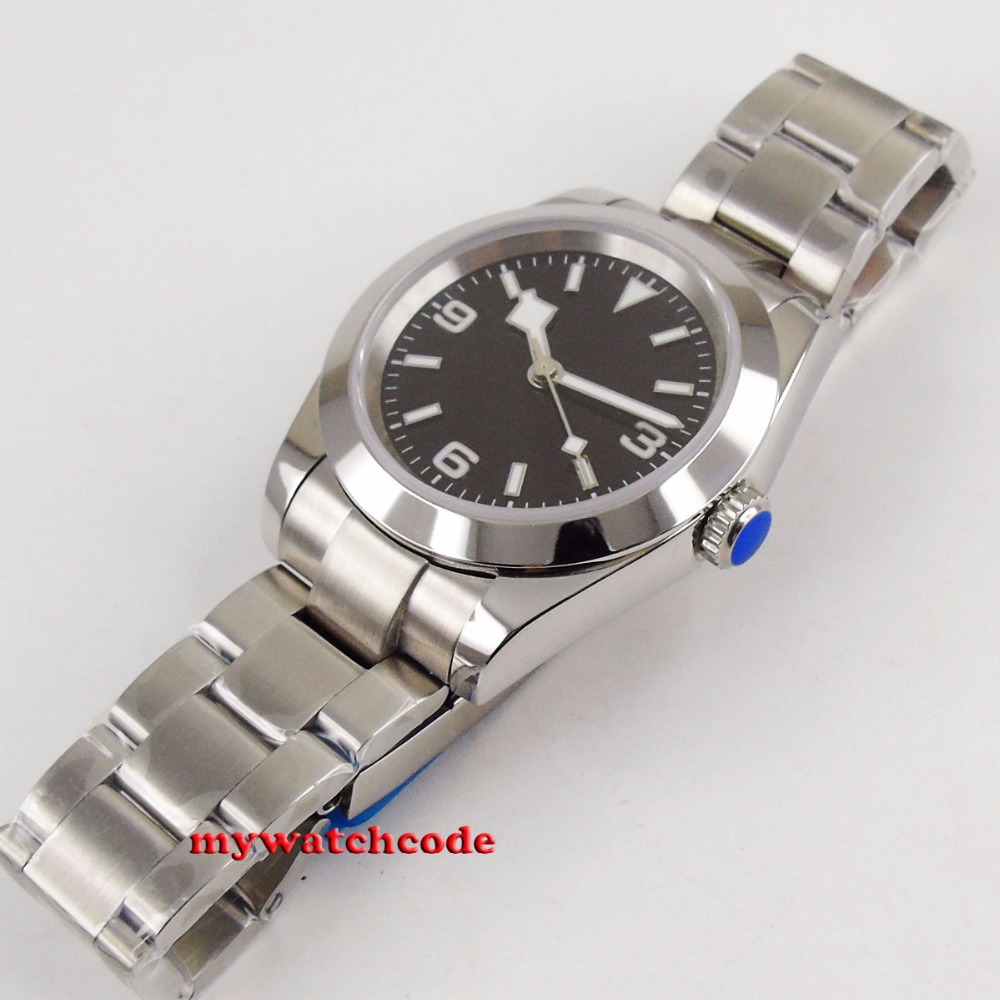 40mm bliger estéril esfera negra nieve escama mano acero Sólido caja zafiro vidrio automático hombres reloj B201 - 5