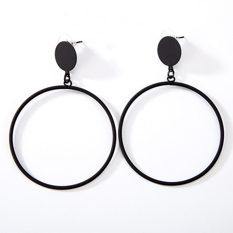 Большие золотые посеребренные черные серьги-кольца, металлические простые геометрические Висячие серьги для женщин, висячие серьги