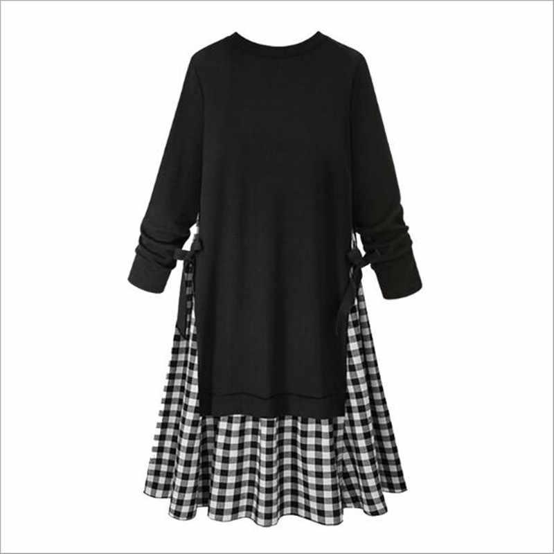Уникальное винтажное платье большого размера повседневное длинное платье большого размера Черное Осеннее платье с длинными рукавами 2018 женская одежда осень 4XL QC437