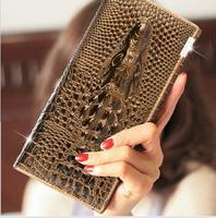 3 D Crocodile Head Leather Wallet Women Brifold Long Genuine Leather Clutch Purse Hasp Female Cellphone