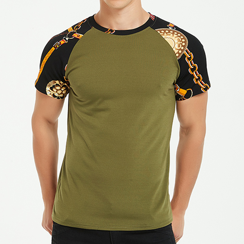 Tjwlkjmen Clothes 2019 Casual T Shirt Men Summer Splicing Cotton Short Sleeve Slim Tshirt Vintage T-Shirt Camisetas Hombre