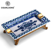 CIGARLOONG ceramic cigar fashion blue and white porcelain ashtray carved copper the base a AH-1060