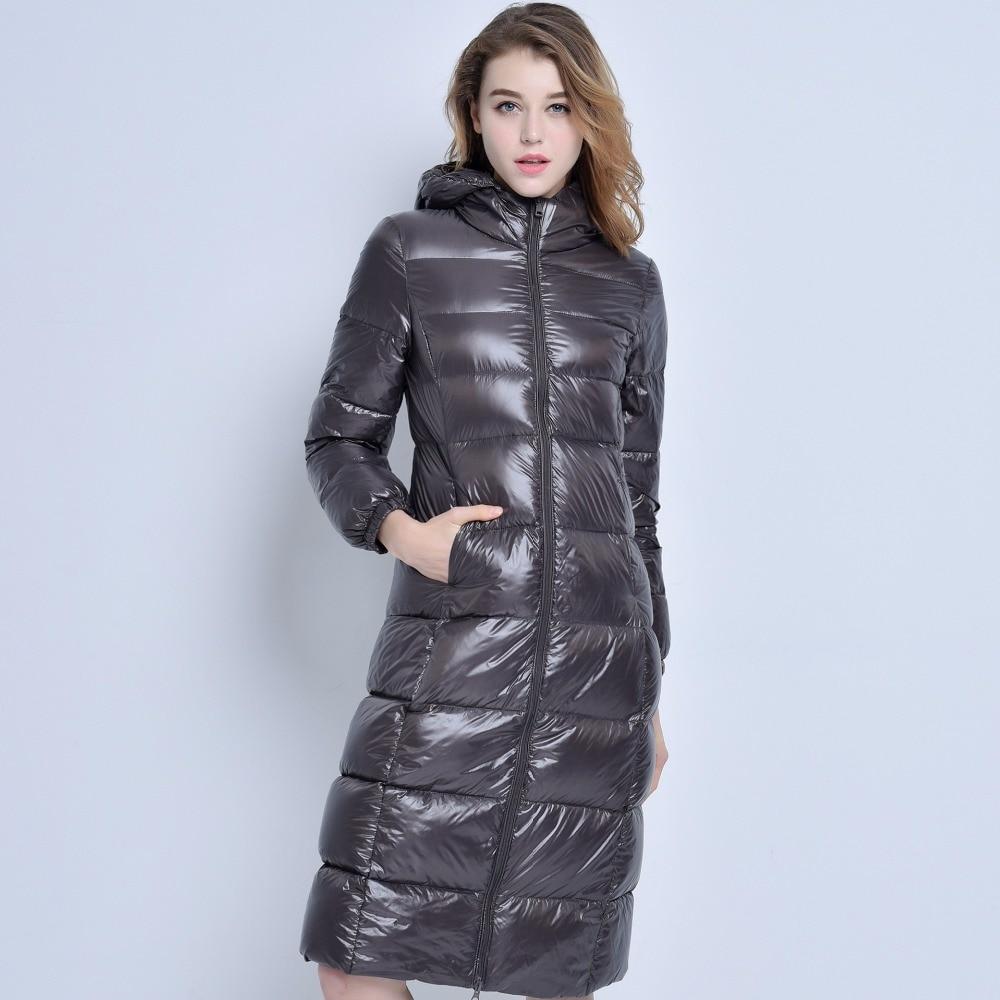 2018 New High-End Brand Ladies Winter Warm Coat Women Ultra Light 640 Filling Prower Long White Duck Down Jacket Women Jackets
