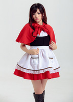 Cute Little Red Riding Hood Cosplay Role Playing Carnival Sexy Party Costume Halloween Dress Cloak Apron