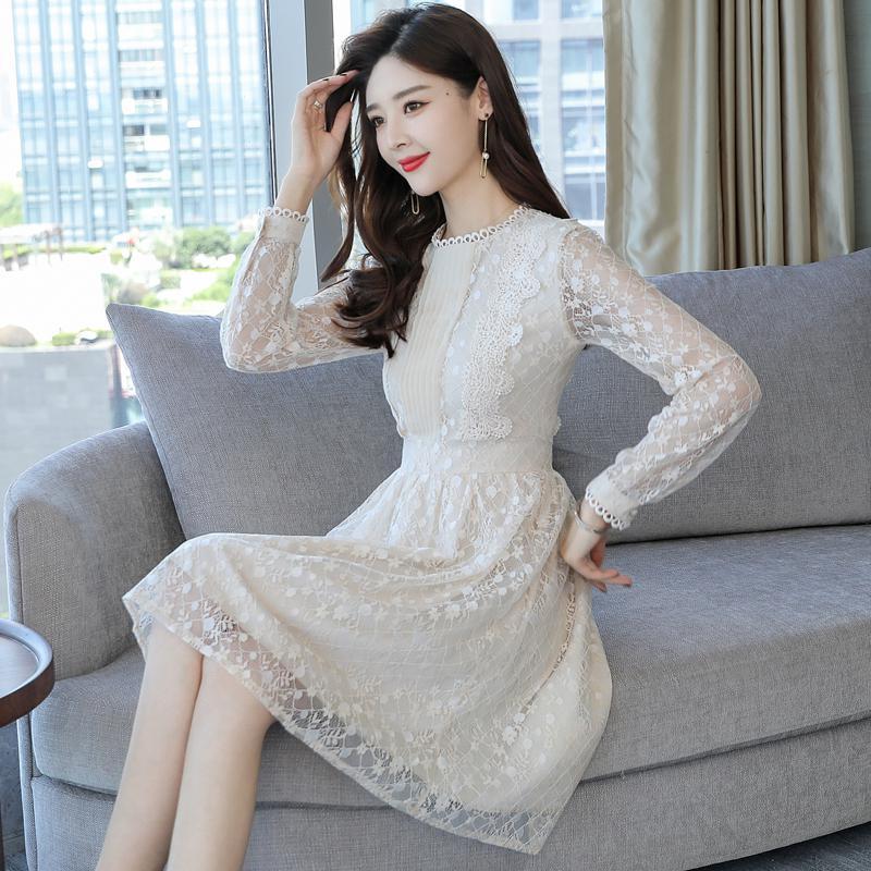 d24d6b614ec Vintage Lace Dress Women 2019 Spring New Women Dresses Long Sleeve O-neck Bodycon  Dress