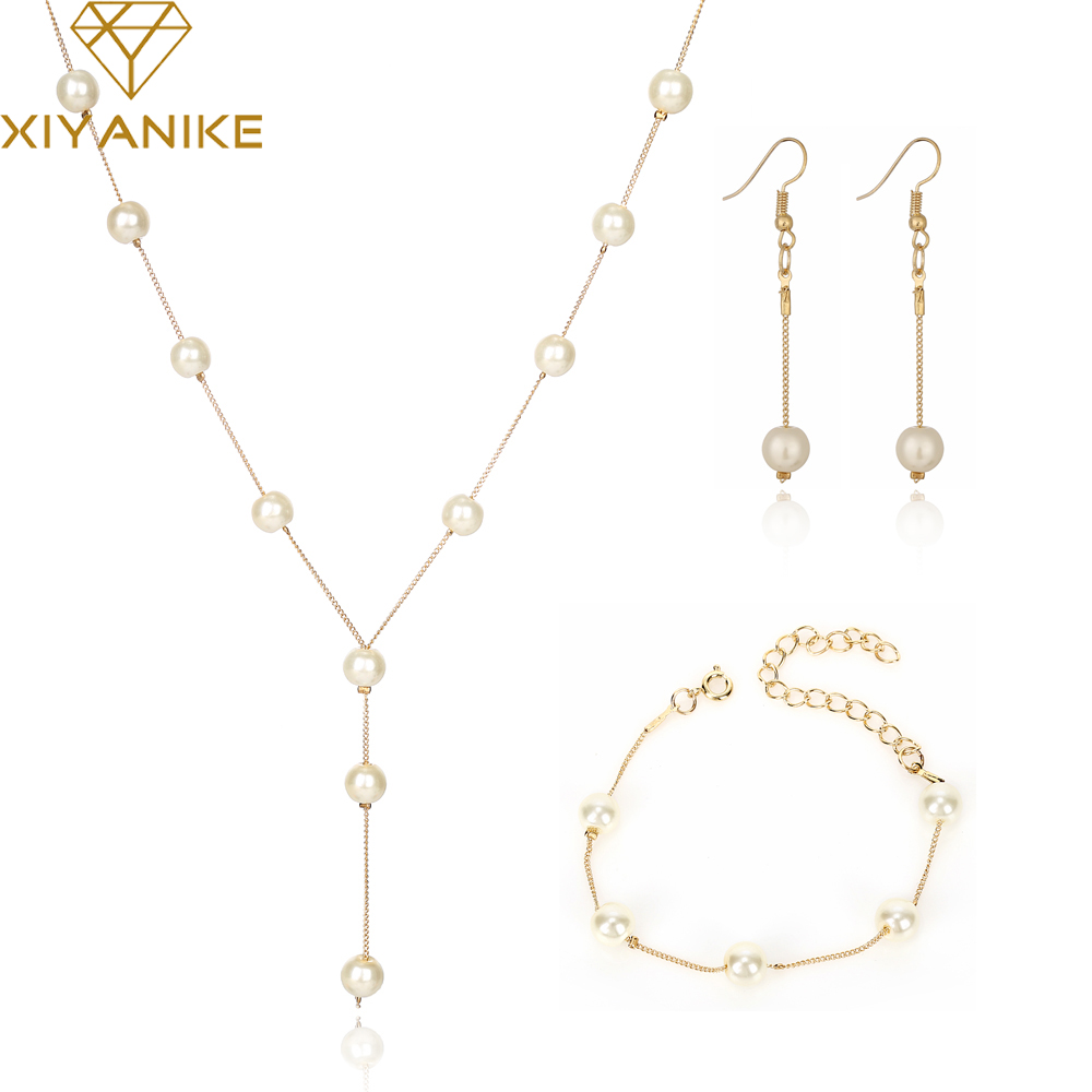 XIYANIKE Fashion Gold Bridal Jewelry Sets Simulated Pearl Wedding Tassel Earrings Necklace Party Beads Bracelet Accessories N334