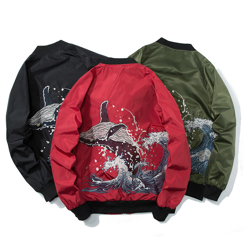Autumn Harajuku HipHop Ma-1 Bomber Jacket 3D Embroidery Streetwear Baseball Coats Military Pilot Embroidered Windbreaker