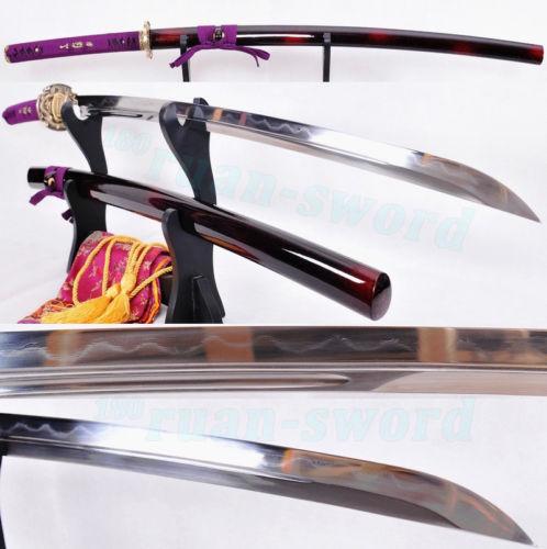 skládaná ocel Clay tempered Double Blade Dragon Mosaz Tsuba Japonský meč Katana