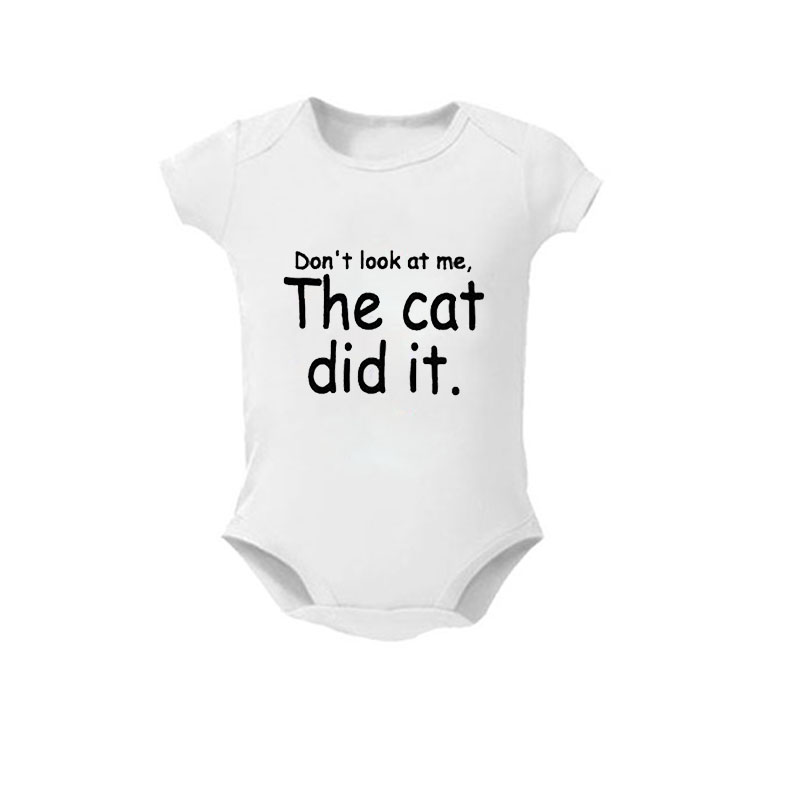 Baby Clothes New born Summer Girl Boy Unisex White Cotton Short Sleeve Baby Bodysuit Don't Look At Me The Dog Did It The Cat Did image