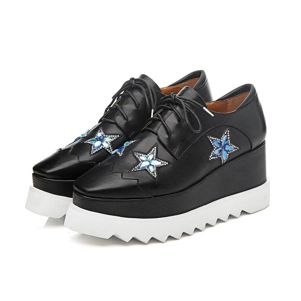 Étoiles Cristal Classique En Lacent 2019 Croissante Talons or Plate L18 forme Femmes Carré Noir Wedge Vache Cinq Bout Hauts Casual Cuir Chaussures Pompes pTTqaw8