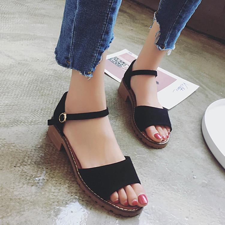 Sweet Summer Platform Sandal 2018 Buckle Strap Open Toe Women Sandals Square Heel Designer Shoes 2