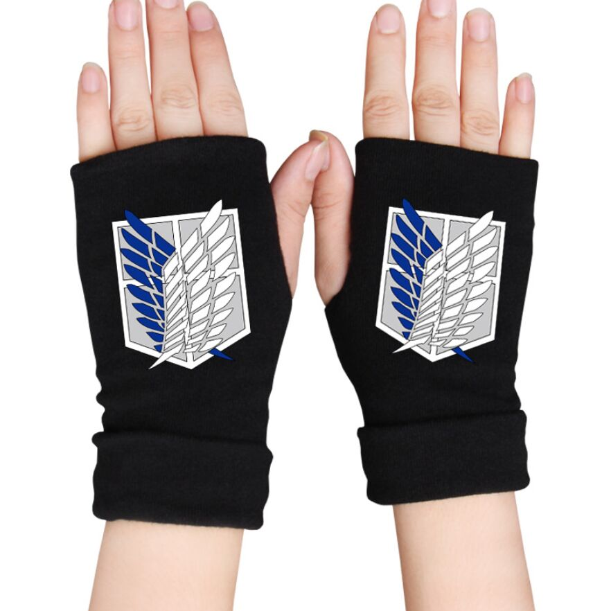 Cartoon Finger Cotton Knitted Wrist Gloves Attack on Titan Tokyo Ghoul hand Mittens Anime Accessories Cosplay Fingerless Gloves