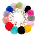 Fashion fur key chain keys for lovers8 CM many colors rabbit fur ball keychain jewelry cubre llaves Genuine fur pom pom keychain
