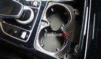 For Benz GLC X205 2015 2016 carbon fiber Interior water cup holder decoration cover trim 1pcs