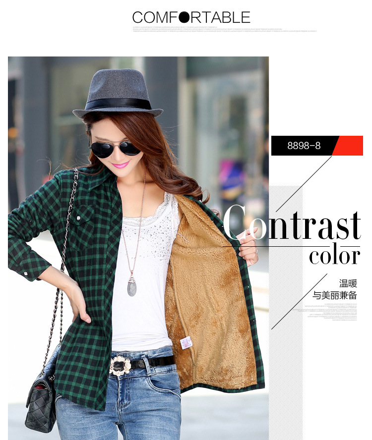 19 Brand New Winter Warm Women Velvet Thicker Jacket Plaid Shirt Style Coat Female College Style Casual Jacket Outerwear 16