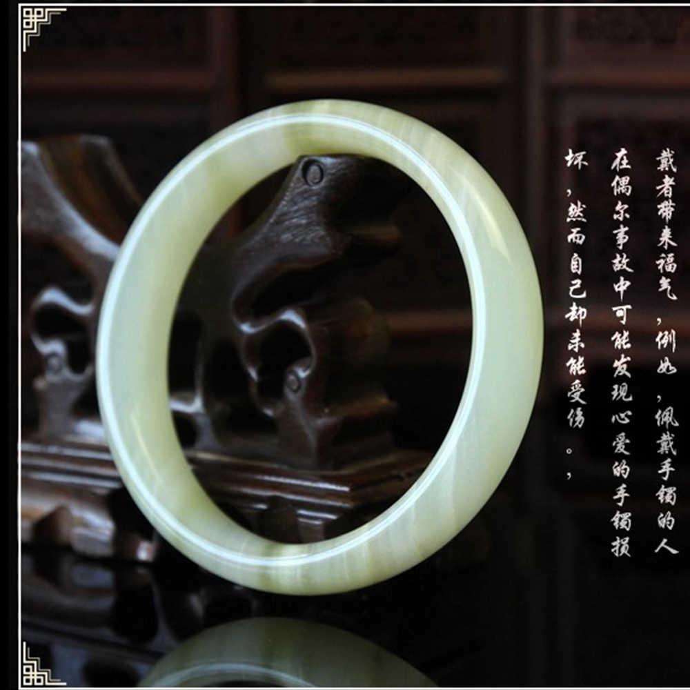 52-60 มม. เส้นผ่านศูนย์กลางภายในคุณภาพสูงหยกสีขาวธรรมชาติกำไลข้อมือ Fine อัญมณีหยกสร้อยข้อมือเครื่องประดับสตรี lover แฟนของขวัญ