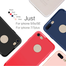 Slim Silicone Case for iphone 7 7+ 6 6s 5 5s Cover Candy Colors Black Shell Matte