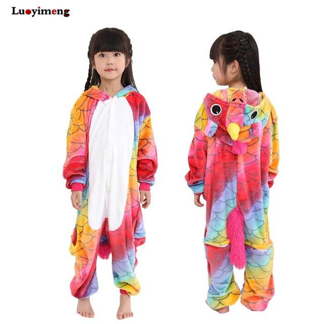 Aktualne Chłopiec Dziewczyna Piżamy Jednorożca Piżamy Dzieci Piżama OS43