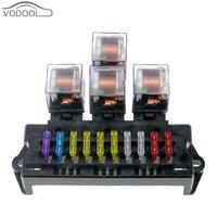 Auto Car Boat 10 Way Circuit Standard Blade Fuse Box Block Holder 5 Pin Relay Socket