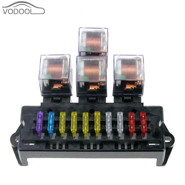 Auto Car Boat 10 Way Circuit Standard Blade Fuse Box Block
