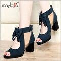 Sapatas do verão das mulheres de salto grosso botas de salto alto do dedo do pé aberto primavera e no outono frisado rendas botas legais gaze sandálias recorte ML06