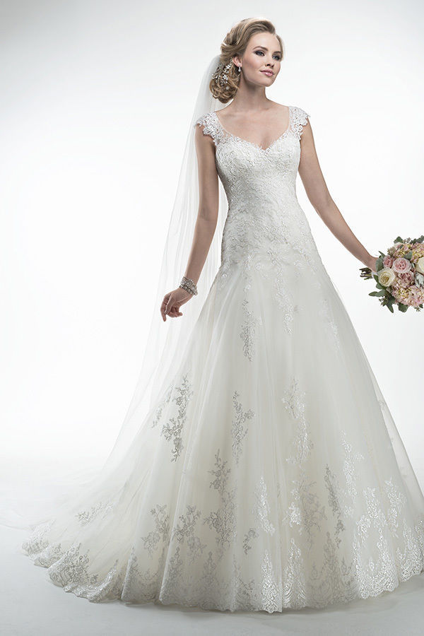 Romantic see through V Neck Wedding Dress Drop Waist A