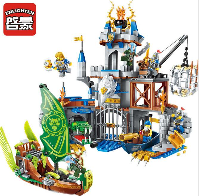 Enlighten 656pcs Building Block War of Glory Castle Knights The Sliver Hawk Castle Figures Bricks Toy Gift Compatible with Legoe enlighten 2314 war of glory castle knights shop model building block 368pcs educational toys for children compatible legoe