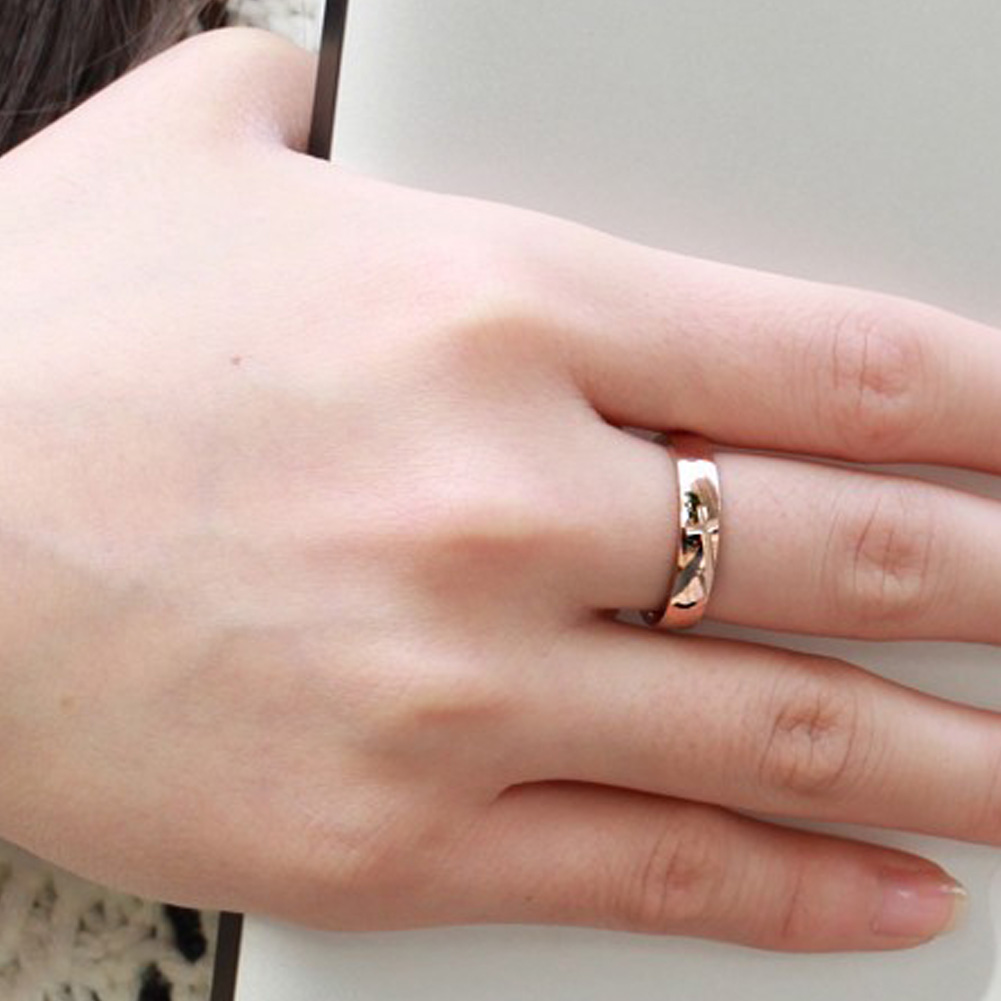 1PC Unique Titanium Stainless Steel Rhinestone Couple Rings Wedding ...