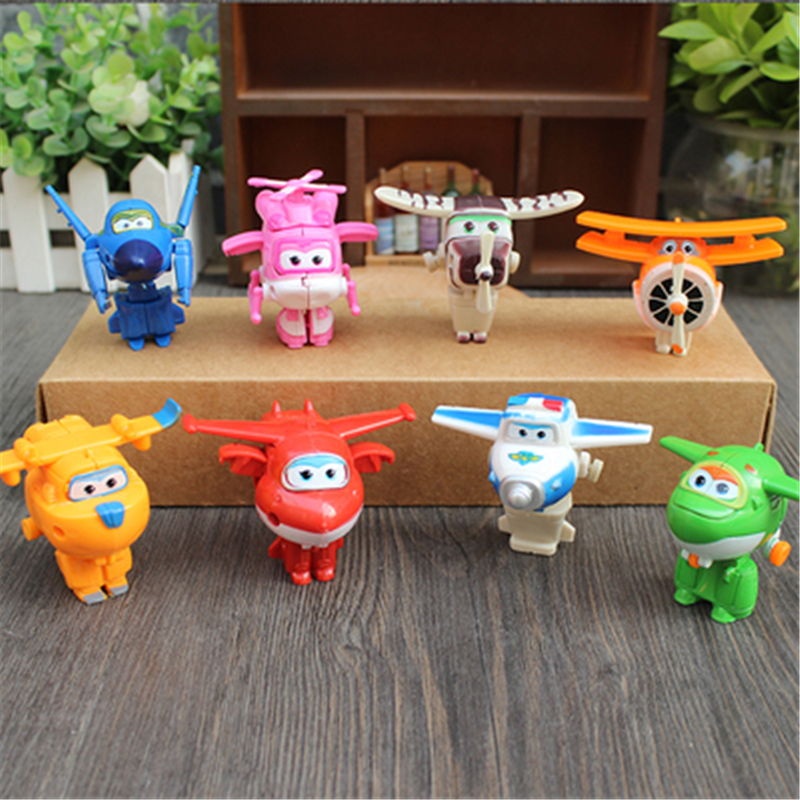 8Pcs/set Hot Mini Super Wings Action Figures Transformation Airplane Robot Toys For Children Birthday Gift Superwings Collection with package 6 pcs set transformation robot cars and bruticus toys action figures block toys for kids birthday gifts